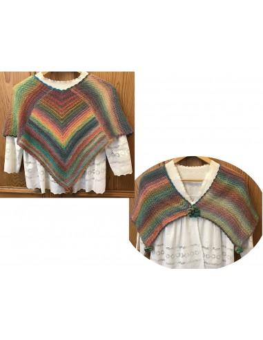 Kit Poncho Tricot Multicolore